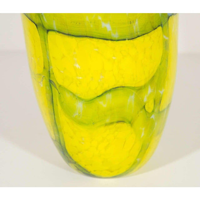 1980s Murano Glass Vase in Vibrant Yellow and Teal For Sale - Image 4 of 6