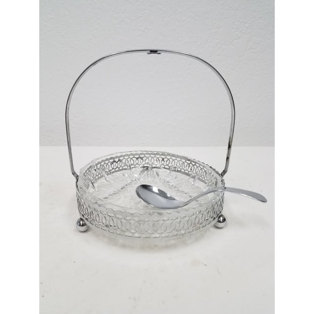 Antique English Silver Plate & Glass Serving Condiment Dish With Spoon For Sale - Image 4 of 10