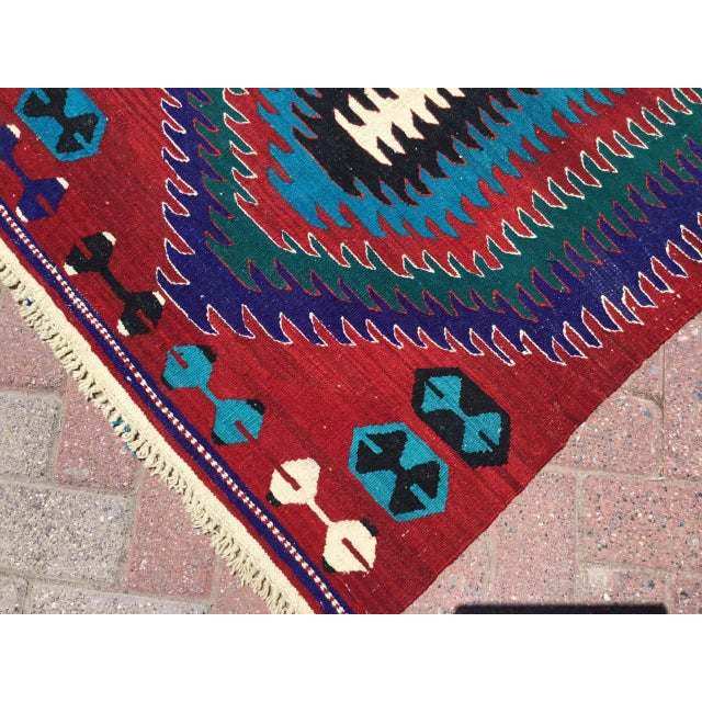 Small Vintage Turkish Kilim Rug For Sale In Raleigh - Image 6 of 10