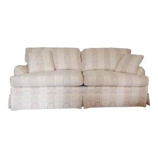 Vintage Custom Henredon Cream and Taupe Matelasse Upholstered Sofa For Sale