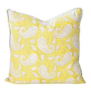 "Citron Paisley Block Print Pillow - 20x20"" For Sale"