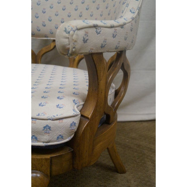 Walnut Barrel Back Club Lounge Chairs - A Pair - Image 6 of 10