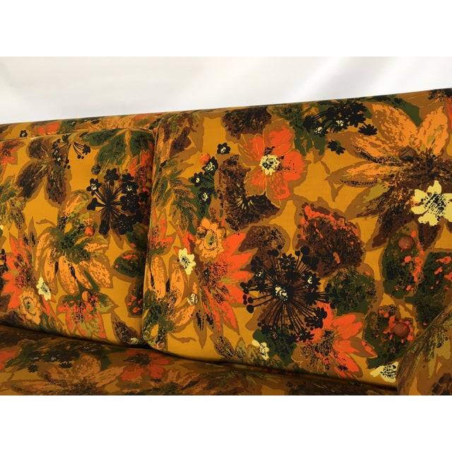 1967 Vintage Bernard Castro Mid Century Modern Floral Sleeper Sofa For Sale - Image 4 of 5