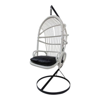 Iconic Sixties White Cane Parrot Hanging Chair With Metal Frame By Rohe Noordwolde The Netherlands