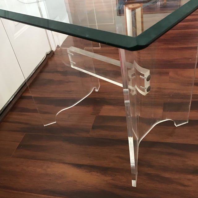 Mid-Century Lucite & Glass End Table - Image 5 of 6