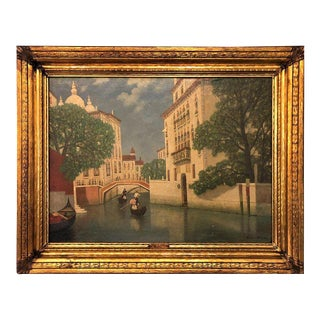 Gulbrandt Sether Signed Norwegian American Oil on Canvas of a Venice Canal For Sale