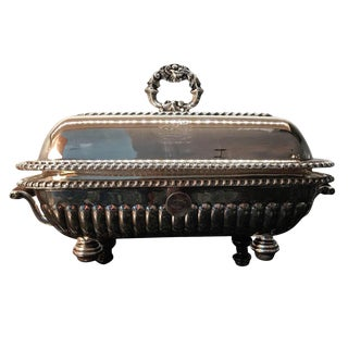 Antique Old Sheffield Plate Silver Covered Entree Warming Dish For Sale