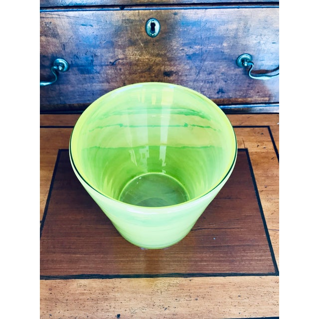 Green Art Glass Ice Bucket in Citron For Sale - Image 8 of 11
