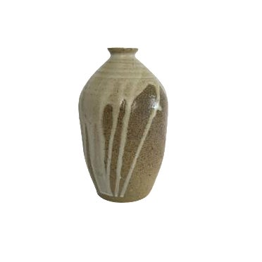 Vintage Hand Turned Pottery Brown and White Signed Vase - Image 1 of 4