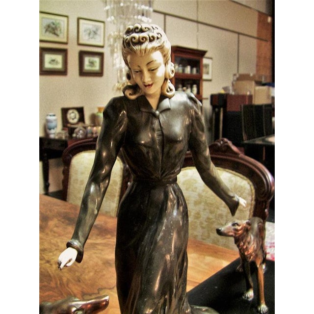 Art Deco Large Art Deco Sculpture of Bronze Lady With Dogs on Marble Base - Impressive and Important For Sale - Image 3 of 11