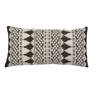Schumacher Wentworth Embroidery Lumbar Pillow in Carbon For Sale