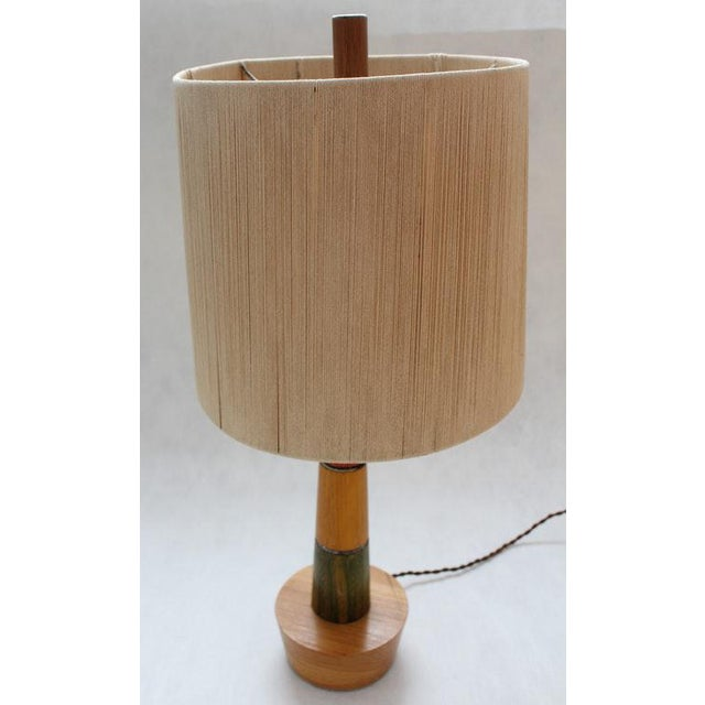 Gently Used Well made solid retro wooden lamp with stunning and very unusual string shade (Inc.). Would compliment a mid-...