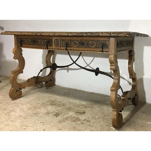 Baroque 19th Century Walnut and Wrought Iron Desk with Two Drawers and Lyre Legs For Sale - Image 3 of 12