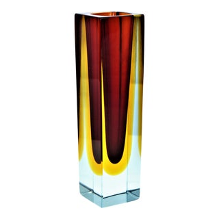 1970s Murano Blue Red and Yellow Glass Vase by Mandruzzato For Sale