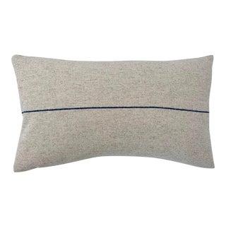 Italian FirmaMenta Eco-Friendly Blue and Cream Stripes Wool Lumbar Pillow For Sale