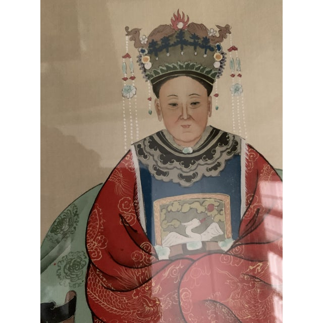 1970s Chinese Ancestral Portraits Early 20th Century Paintings on Paper - a Pair For Sale - Image 5 of 9