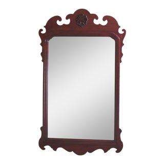 1990s Vintage Thomasville Cherry Chippendale Style Beveled Mirror For Sale