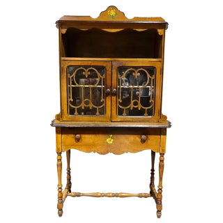 Early 20th Century Antique Country Farmhouse Carved Maple Curio Cabinet For Sale