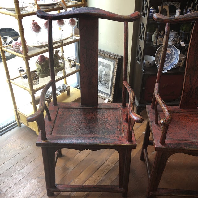 Red Empire Chairs- a Pair For Sale - Image 9 of 13