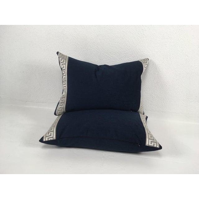 Boho Chic Indigo Blue Plush Chenille Lumbar Pillows- a Pair For Sale - Image 3 of 6