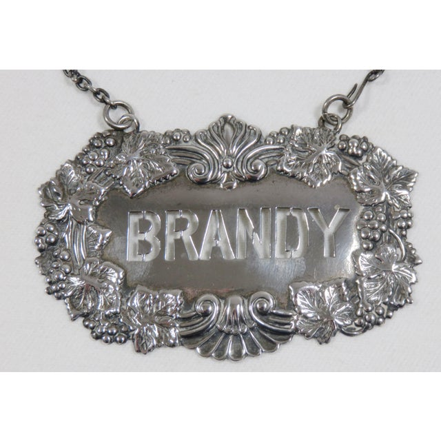 Victorian 1890s Antique Sterling Silver Liquor Decantor Label For Sale - Image 3 of 13