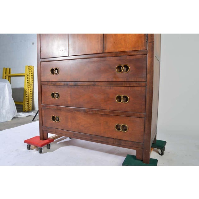 """1950s solid walnut Baker highboy designed by Michael Taylor for his """"Far East Collection."""" Outstanding vintage condition...."""