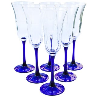 Blue Stem Champagne Glasses, S/6 For Sale