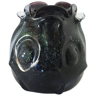 Black Green Murano Glass Vase For Sale