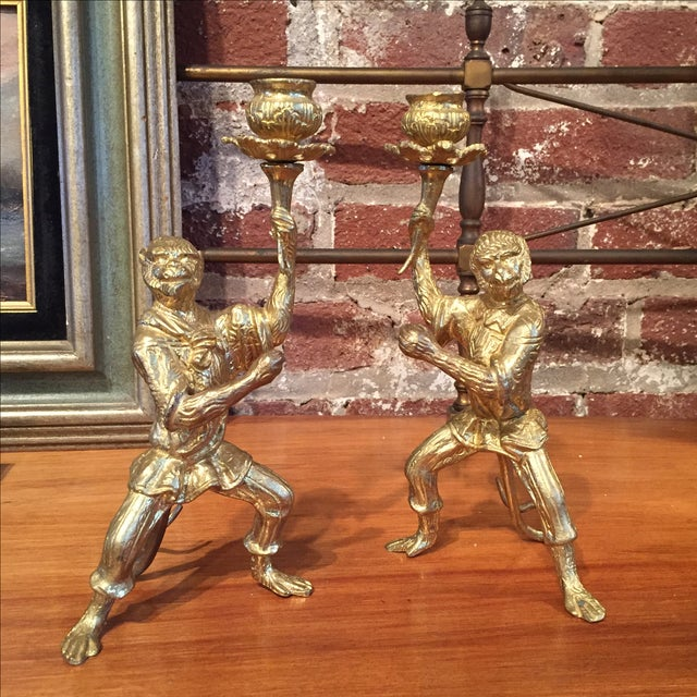 Pair of Gilt Bronze Monkey Candlesticks - Image 2 of 8