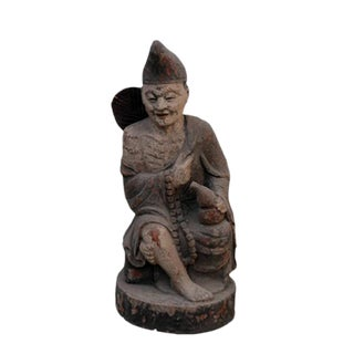 Late 19th Century Asian Antique Monk Ji Gong Wooden Statue