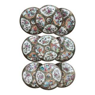 19th Century Rose Medallion Plates - Set of Nine For Sale