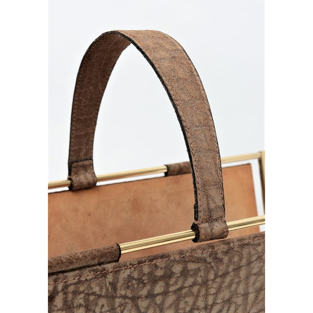 Vintage French Elephant Embossed Suede Leather and Brass Magazine Holder Inspired by Jacques Adnet Mid Century Modern MCM Millennial - Image 7 of 11