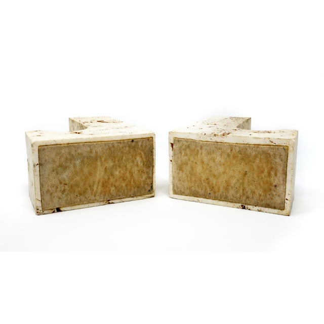 Italian Vintage Travertine Bookends - a Pair For Sale - Image 3 of 5