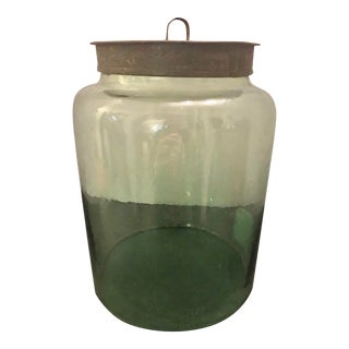 Antique Green Glass Storage Jar With Original Metal Lid For Sale