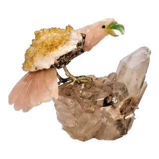 Large Semi-Precious Stones Parrot Table Sculpture -Citrine Rose Quartz Clear Smokey Rock Crystal Fluorite- Mineral Specimen Brazil For Sale