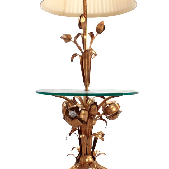Mid-century Hollywood Regency gold gilt metal tole floor lamp & side table by German designer Hans Kögl and manufactured...