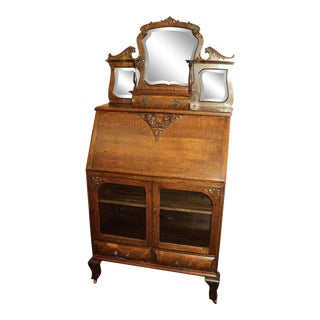 Victorian Antique Oak Drop Lid Secretary Desk For Sale