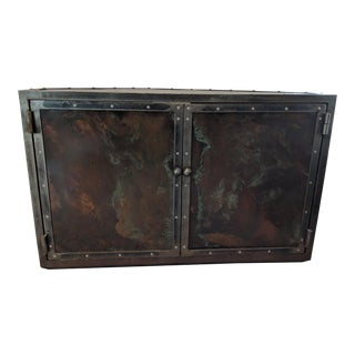 1970s Vintage Copper and Steel Media Cabinet For Sale