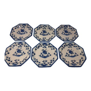 Hand Painted Swan Motif Hexagon Dishes - Set of 6 For Sale