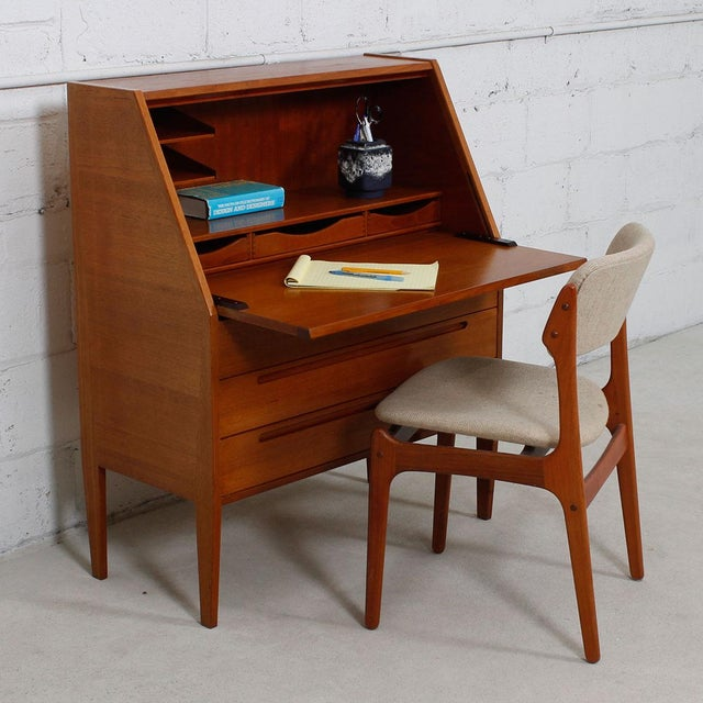 Danish Modern Teak Drop Front Secretary Desk - Image 7 of 10