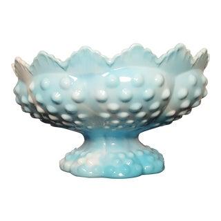 Turquoise Fenton Hobnail Milk Glass Centerpiece Bowl