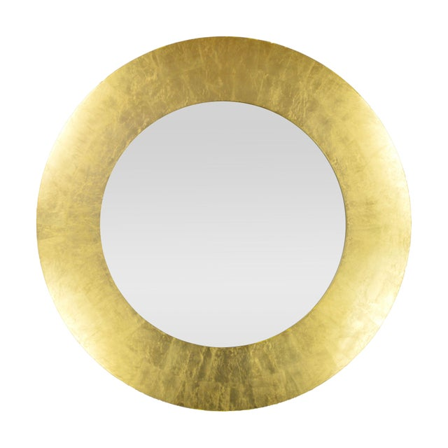 Modern Gold Circular Mirror For Sale