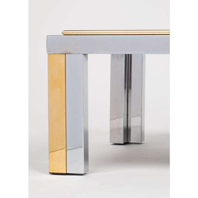 Vintage Romeo Rega Chrome and Brass Coffee Table For Sale - Image 9 of 11