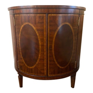Maitland Smith Mahogany and Satinwood Inlaid Demi-Lune Cabinet For Sale
