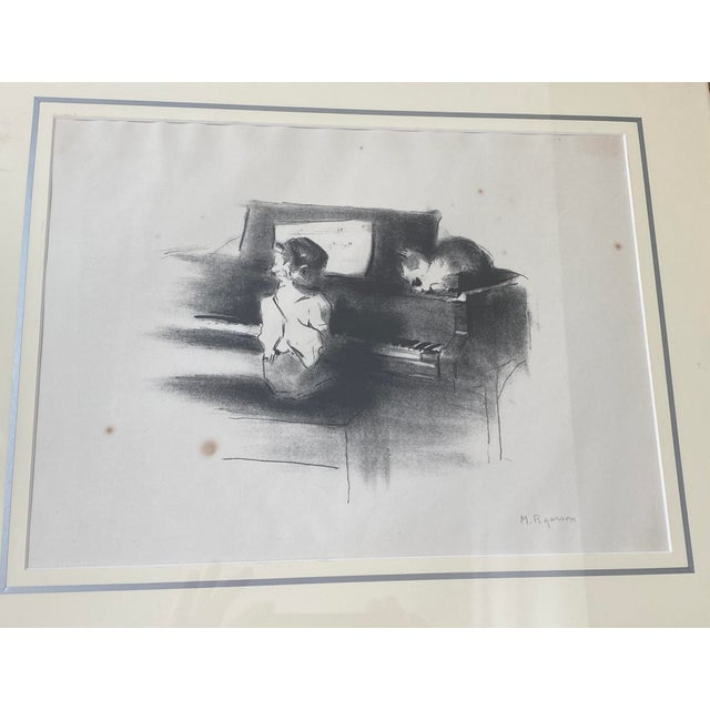 """Figurative Vintage Margery Austin Ryerson """"Child With Cat at the Piano"""" Lithograph For Sale - Image 3 of 10"""