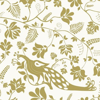 House of Harris Windwood Wallpaper, 30 Yards, Gold For Sale