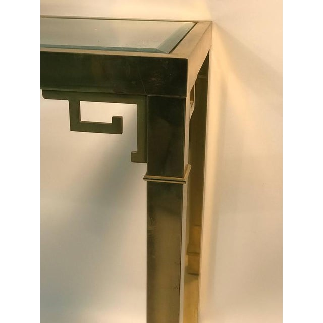 Brass ELEGANT ITALIAN SOLID BRASS CONSOLE TABLE WITH GREEK KEY DESIGN For Sale - Image 7 of 10