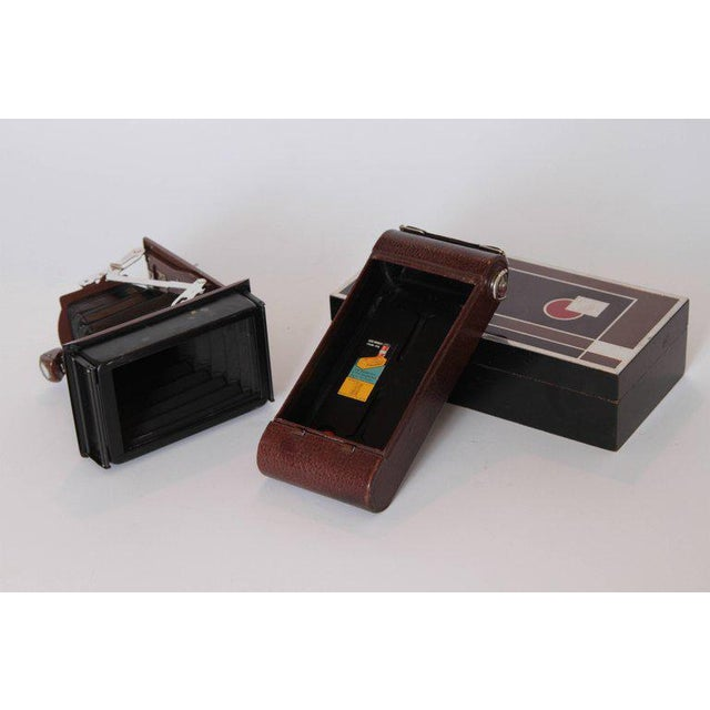 Animal Skin Machine Age Art Deco Walter Dorwin Teague Kodak Gift 1A Camera with Case For Sale - Image 7 of 11