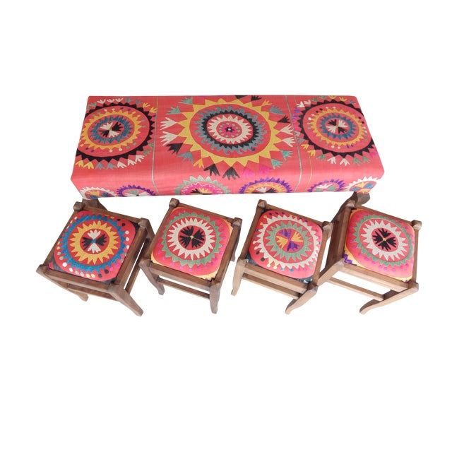 Set of 5 Suzani Covered Bench Handmade Ottoman From Anatolian With 4 Pieces Footstool For Sale