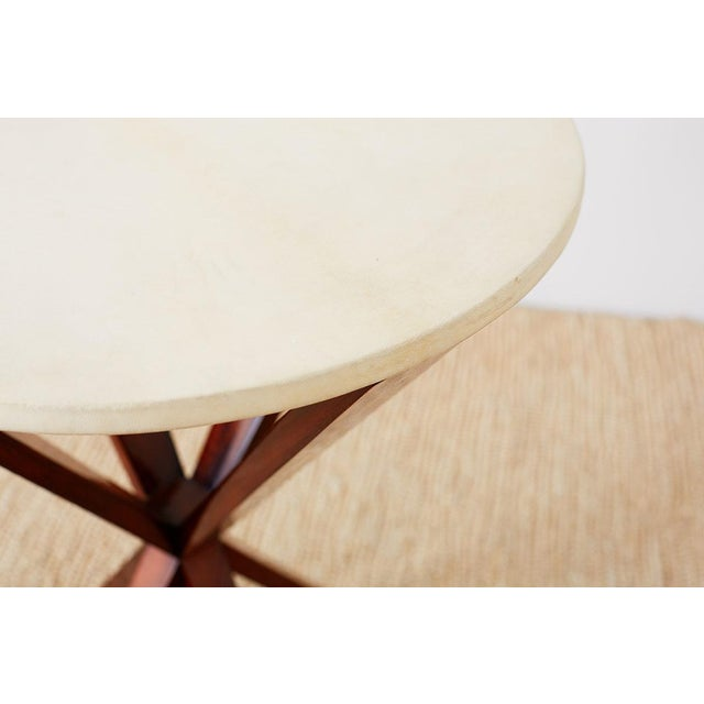 Art Deco Style Mahogany and Goatskin Vellum Drinks Table For Sale In San Francisco - Image 6 of 13